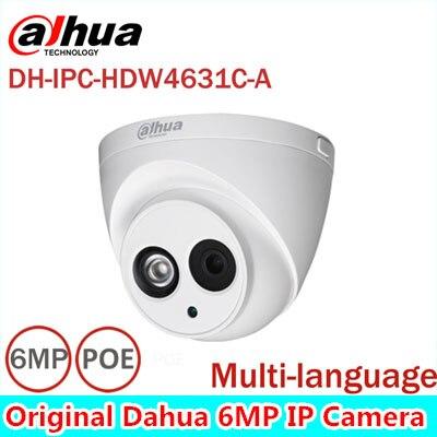 Dahua origiinal 6MP IP Camera IPC-HDW4631C-A POE Built-in MIC IR 30m IP67 Network Dome Camera Multi-Language Firmware dahua 6mp ip camera ipc hdw4631c a poe network camera with built in micro upgrade model of 4mp camera ipc hdw4431c a