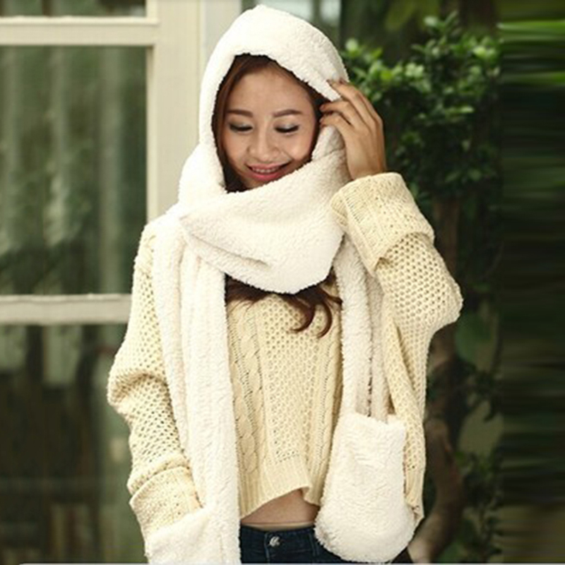 Bigsweety 3 In 1 Women Winter Warm Soft Hood Scarf Snood Pocket Hats Gloves Fashion Hooded Srarves Scarf Hat Glove 3 Piece Sets