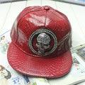 New 2016 Fashion Bone Gorras Snapback Swag Skull Diamond Rivet Snakeskin Leather Hip Hop Hats Baseball Caps Chapeu For Men Women
