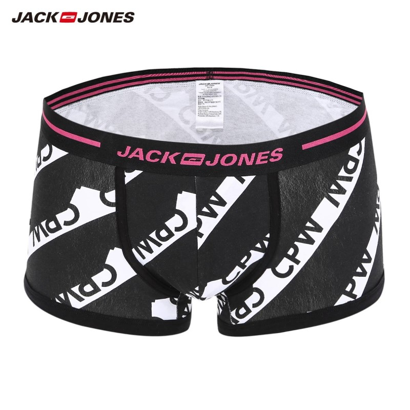 JackJones Men's Stretch Cotton Letter Print Contrasting Splice Boxer Shorts| 218392536