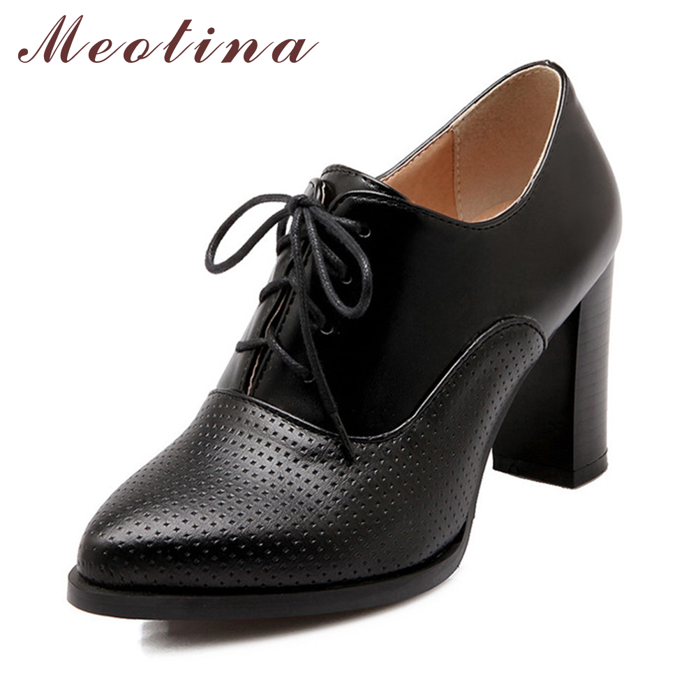 Meotina Ladies Shoes Big Size 40 41 British Style Women's Pumps Autumn Pointed Toe Chunky High Heels Female Lace Up Black Shoes meotina shoes women wedge heels ladies shoes pointed toe lady pumps autumn female work shoes wedges green apricot big size 42 43