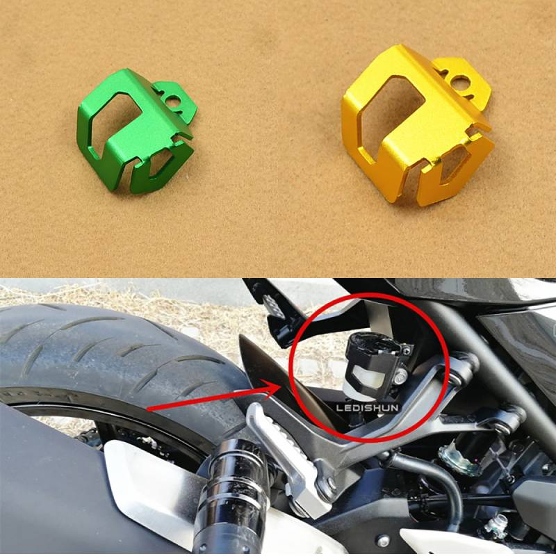 Motorcycle Rear Brake <font><b>Oil</b></font> Cup For Kawasaki <font><b>Ninja</b></font> <font><b>400</b></font> Ninja400 2018 2017 <font><b>Oil</b></font> Can Protect the Cup Cover Fluid Tank Reservoir Guard image