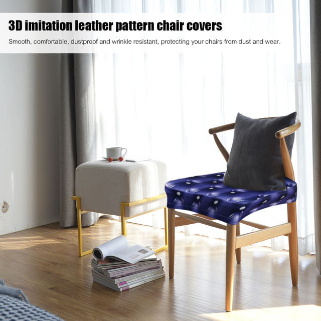 2pcs 3D Printing Spandex Stretchable Dining Chair Seat Covers Ceremony Chair  Slipcovers Protectors Wedding Events Decoration