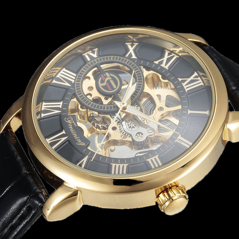 Prix pour Forsining 3d Logo Conception Creux Gravure Noir Boîtier en Or En Cuir Squelette Mécanique Montres Hommes Marque De Luxe Heren Horloge