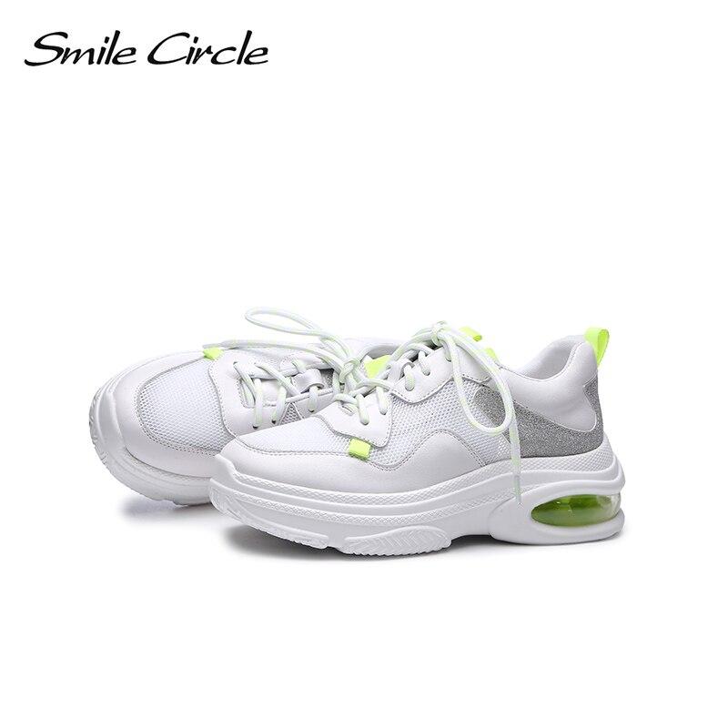 รอยยิ้มวงกลมของแท้หนังรองเท้าผ้าใบสตรี Lace   up รองเท้าแบนรองเท้าผู้หญิง air cushion รองเท้าผ้าใบ 2018 รองเท้าสบายๆ-ใน รองเท้าส้นเตี้ยสตรี จาก รองเท้า บน   3