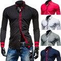 2015 новый бренд ленты манжеты мода контрастного цвета мужские рубашки с длинным рукавом slim-подходят свободного покроя социальный Camisas Masculinas M-XXL