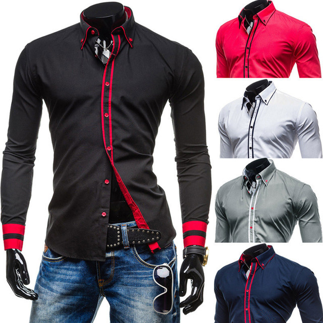 2015 New Brand Ribbons Cuff Fashion Contrast color Mens Dress Shirts Long sleeve Slim Fit Casual Social Camisas Masculinas M-XXL