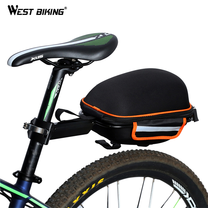 WEST BIKING Bike Rear font b Bag b font Reflective Waterproof Rain Cover Portable Mountain Road