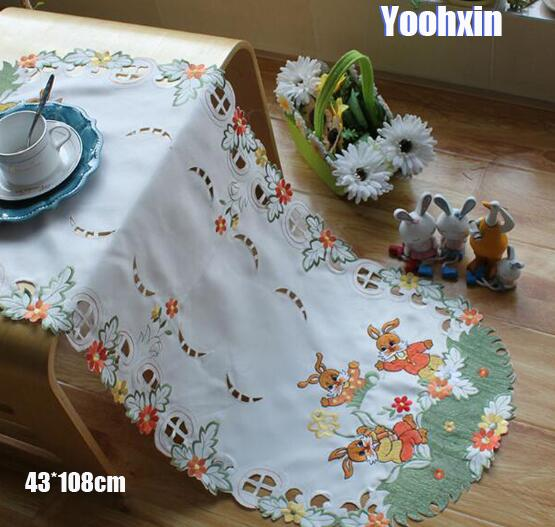 Oval Coffee Table Runner: Modern White Oval Satin Embroidery Bed Table Runner Cloth