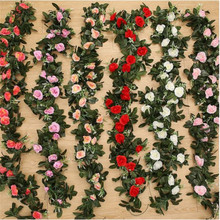 11 Heads 240cm Silk Rose Garland Fake Artificial Flower Vine  Green Leaves flower garland for Wedding Decoration Hanging