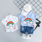 Carters Official Store For Bebek Baby Young Children's Jeans Short-sleeved Shirt Suits Summer Boy Han Edition Two-piece Rainbow