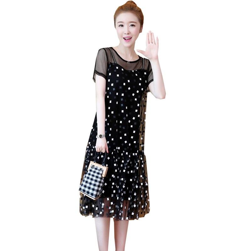 Plus size 5XL Mesh Women Dress Short Sleeve 2019 Summer Casual Loose Fake Two Pieces O Neck A Line Slim Dress Female Vestidos