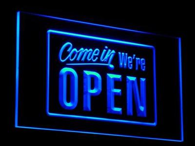 i001 We're OPEN Shop cafe Bar Display LED Neon Light Sign On/Off Switch 20+ Colors 5 Sizes