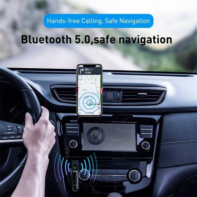 Baseus voiture Aux Bluetooth 5.0 adaptateur sans fil 3.5mm récepteur Audio pour Auto Bluetooth Kit mains libres voiture haut-parleur casque 2