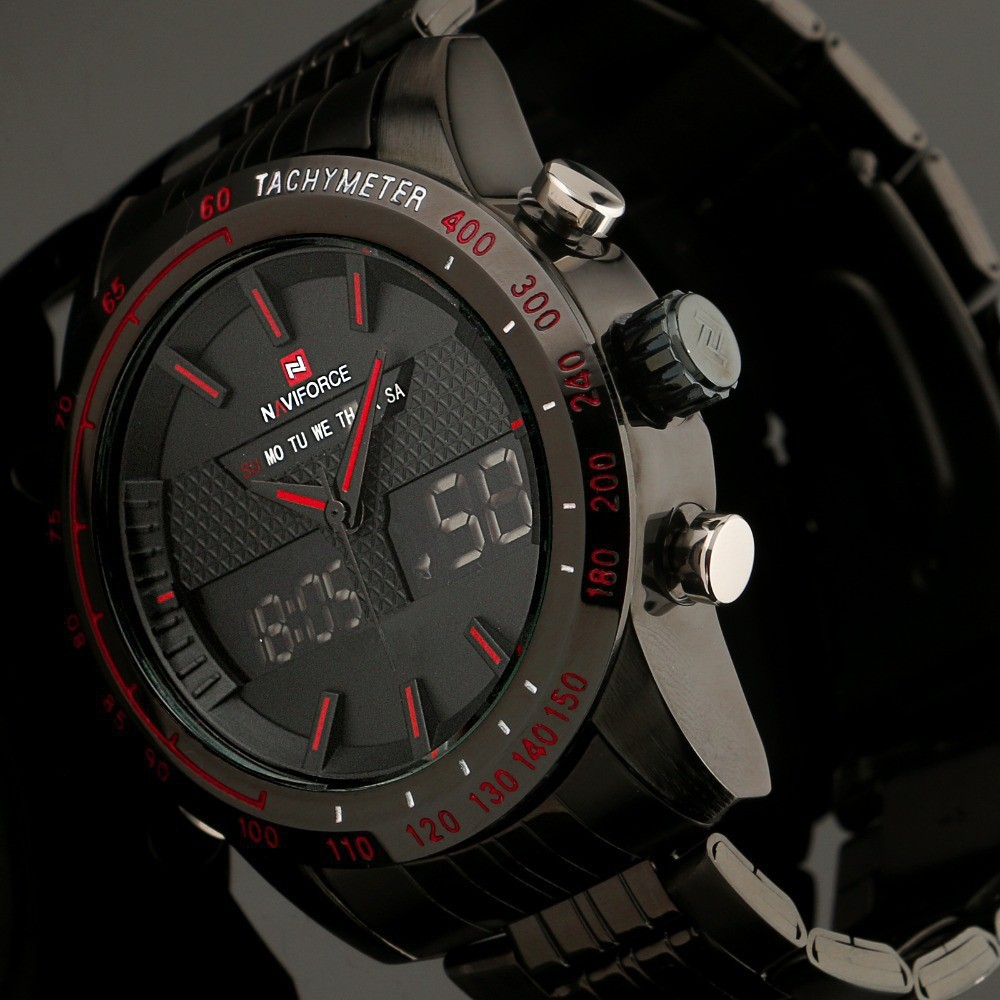 Hot Luxury Men Quartz Watches Full Steel Men s Chronograph Hour Clock Analog Digital LED Readable