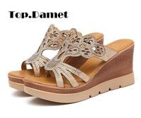 Top.Damet Women Summer Platform Shoes Peep Toe Hollow Out Elegant Wedges Casual Flip Flops Slip on High Heels Fashion Footwear