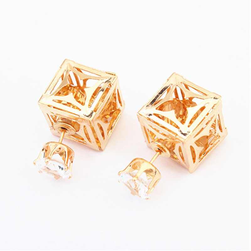 2019 New Fashion Charm Triangular Geometric Cubic Shiny Crystal Multi-color Stud Earring for Women Party Prom Beautiful Earrings