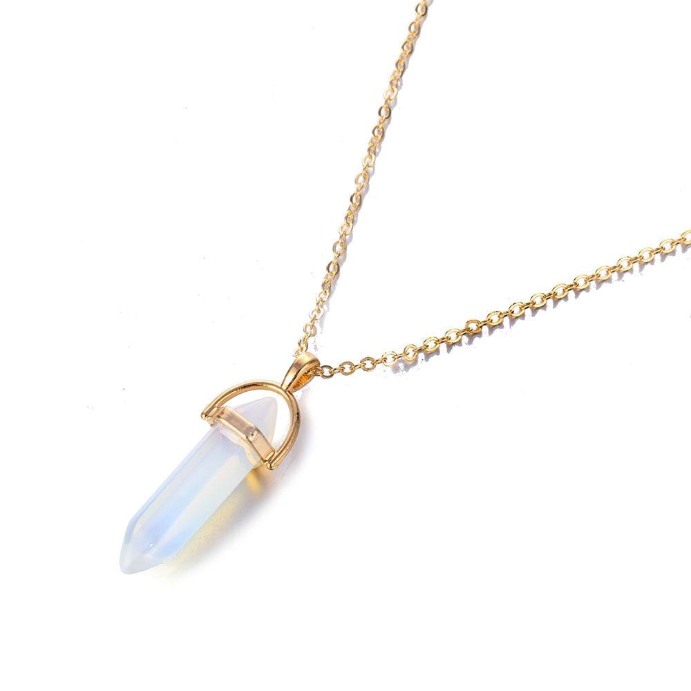 Hot sale Hexagonal Column Quartz Necklaces Pendants Fashion Natural Stone Bullet Pink Crystal Pendant Necklace For