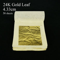 50 ملاءات 4.33x4.33 سنتيمتر 24 K الصرفة حقيقية الذهب أوراق الصالحة للأكل الذهب ورقة كعكة الديكور