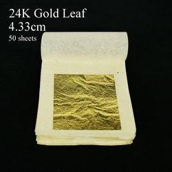 50 ورقة 4.33x4.33 سنتيمتر 24K نقية حقيقية الذهب ورقة الصالحة للأكل الذهب ورقة كعكة الديكور