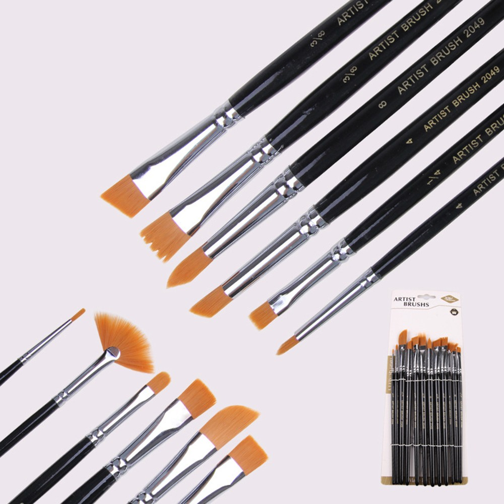 12 Pcs Paint Brush Set Paint Gouache Painting In Oil Painting Palettes Pens  Nylon Hair Acrylic Watercolor Round Pointed Tip