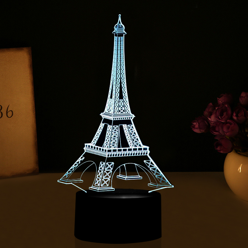 3D LED Illusion Lights LED Eiffel <font><b>Tower</b></font> Table Lamp Colorful Flashing Decorations Lights USB Desk Lamp as Holiday Gifts