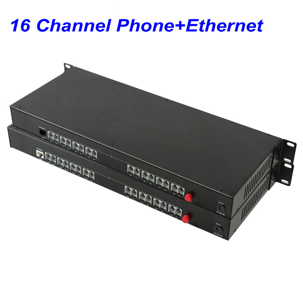1 Pair 16 Channel  -PCM Voice Tel Over Fiber Optic Multiplexer Extender With 100M Ethernet ,Support Caller ID And Fax Function
