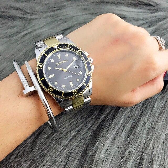 CONTENA Top Brand Men's Watch Men Watch Auto Date Full Steel Wrist Watch Fashion Watches Clock saat reloj hombre erkek kol saati