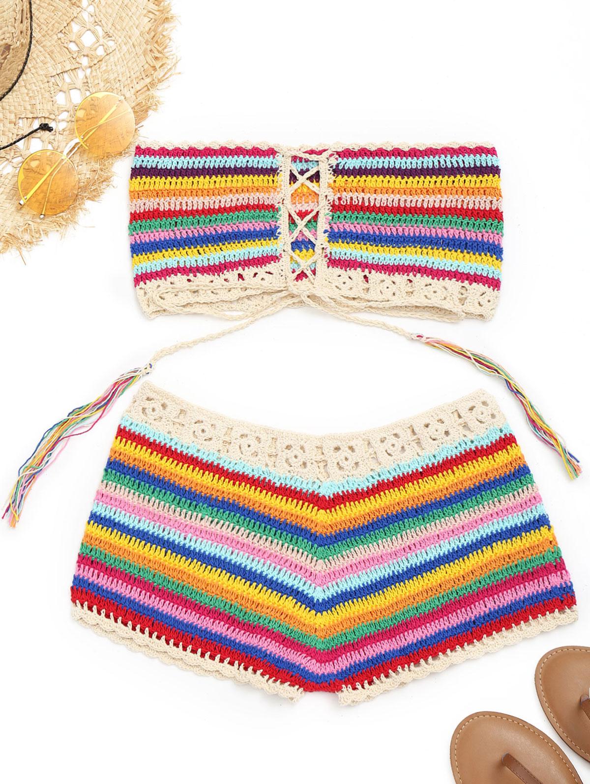 Zaful nuevo sin tirantes colorido crochet Top y encubrimiento ...