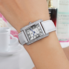 2016 Brand Luxury Women Watches Fashion Leather Strap Silver Gold Diamond Quartz Rectangle Wrist Watch for Ladies