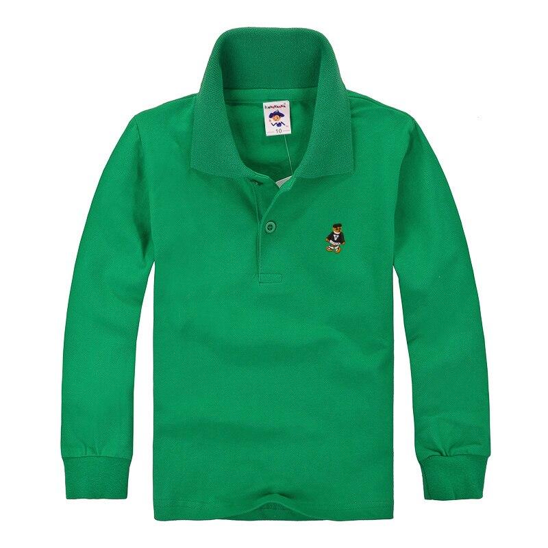Haute Qualité Enfants Garçons Polo Chemises de Marque Pour Enfants Filles Casual Chemise À Manches Longues Coton Blanc Jaune Couleurs