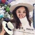 О новой белой шерсти шляпа с плоским плоские карнизы широкий карниз маленький сладкий ветер синий бантом благородный м стандартный женский шляпа