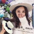 About the new white wool hat flat flat eaves wide eaves little sweet wind deep blue bowknot noble m standard female hat