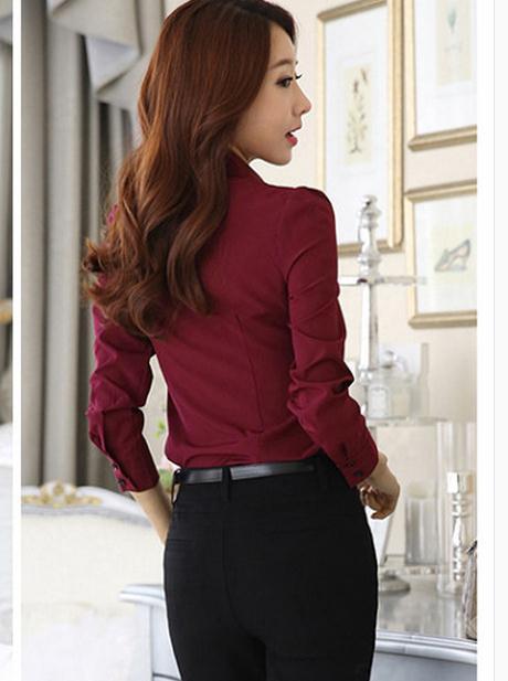 2017 Femmes À Longues Nouveau Chemise Printemps Manches blanc rouge Noir Le tq7REw