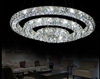 New Modern LED 3Rounds 3 sides Tier Crystals Pendant Lamp Ring Light Lighting circles lights for dining living room