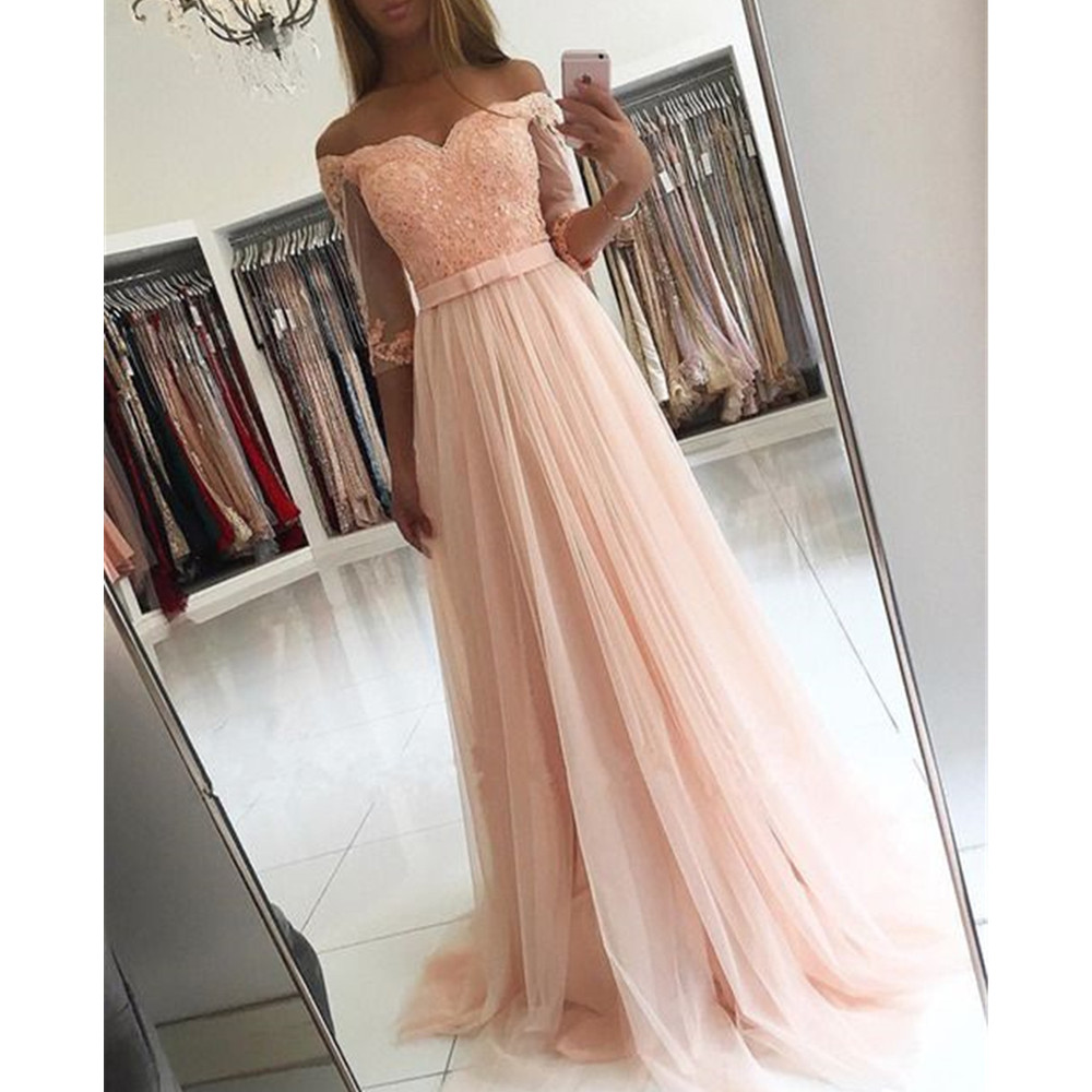 2019 Elegant Light Pink Tulle Long Evening Dress With Half Sleeve Boat Neck A Line Floor Length Beaded Appliques Prom Gown Cheap a-line
