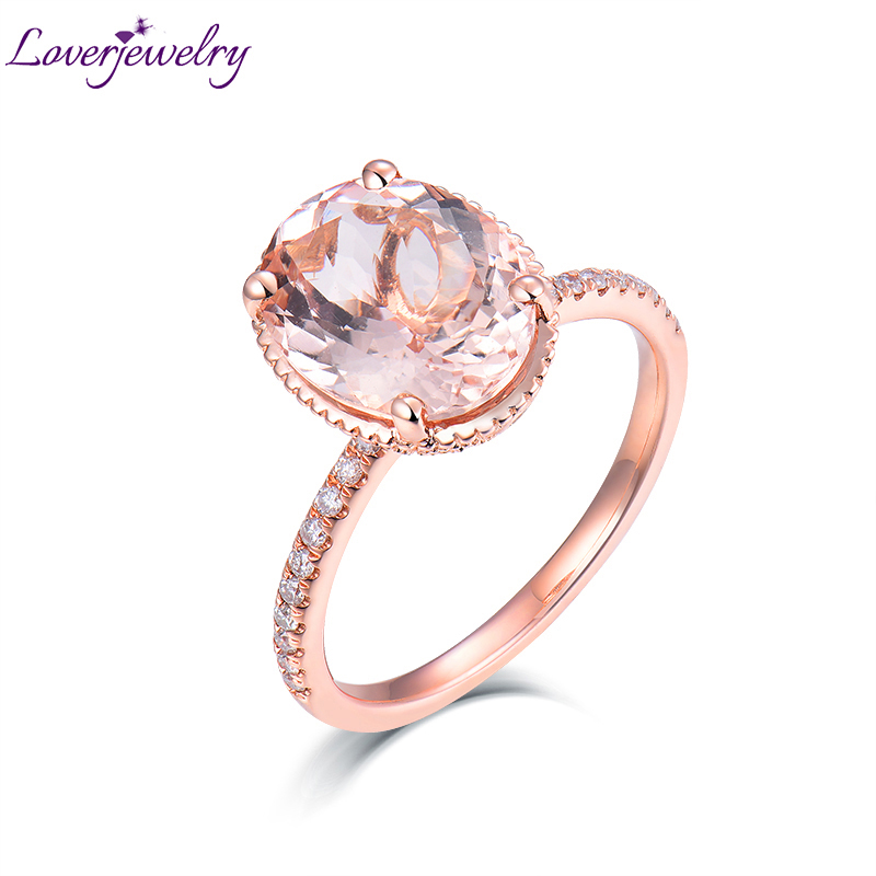 Loverbijoux nouveauté Real Au585 14 K or Rose diamant naturel bonne qualité Morganite mariage pour femmes anniversaire bijoux