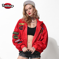 7mang 2018 autumn women fashion street black red badge hooded jacket long sleeve loose bomber jackets