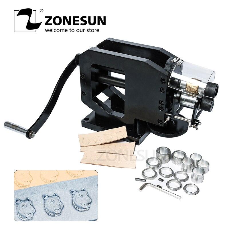 ZONESUN машина для штамповки кожи станок холодного прессования тиснение повторяющийся узор для кожаный ремень, гитара ремни логотип Embosser
