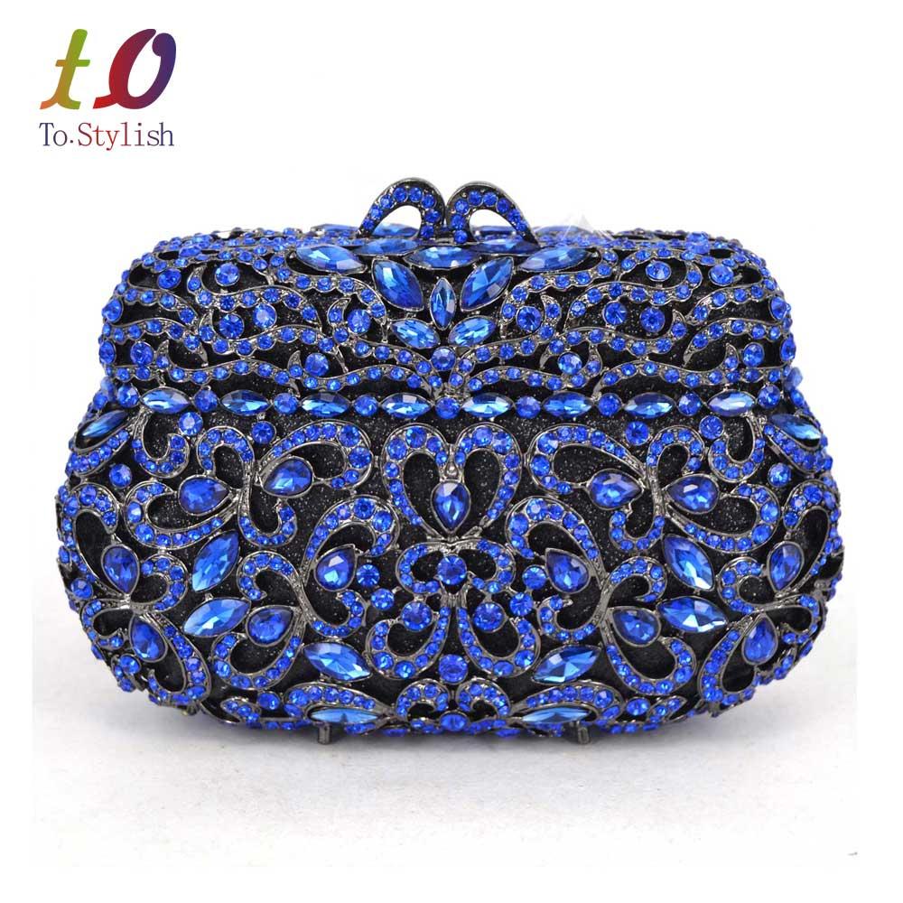 Caja De Embrague Noche Bolsa Con La Cadena de Cristal Azul de Las Mujeres de luj