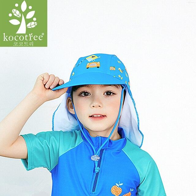 fa590921 2018 Summer Cartoon Baby Kids Swimming Cap Neck Protection Beach Sun Hats  Waterproof for Boys Girls