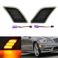 2x Smoked Amber LED Side Marker Light For 08 12 Mercedes W204 C300 C350 C63 AMG