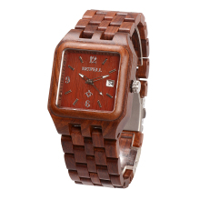 BEWELL Red Quartz Wood Watch Men Wooden Square Dial Auto Date Box Watch Rectangle Men Luxury Brand  Relogio Masculino 111A