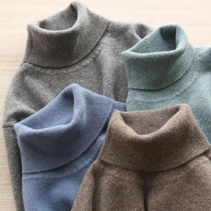 Sweter męski 100% czystej wełny dziergany sweter zimowy nowy nabytek moda golf Jumepr człowiek grube ubrania topy 8 kolory swetry