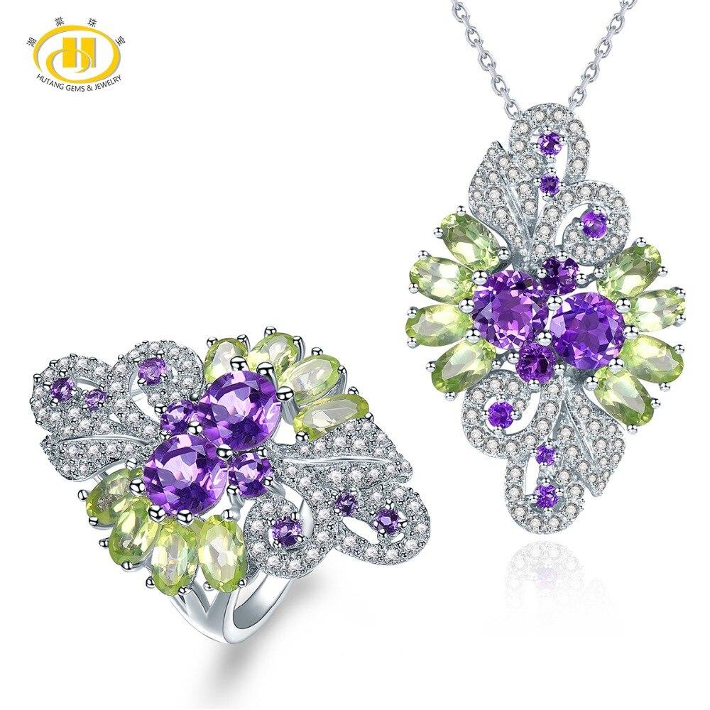 Hutang природных драгоценных камней кулон ювелирные кольца, 925 Стерлинговое Серебро, аметист, хризолит тонкой моды камень изделия для подарка