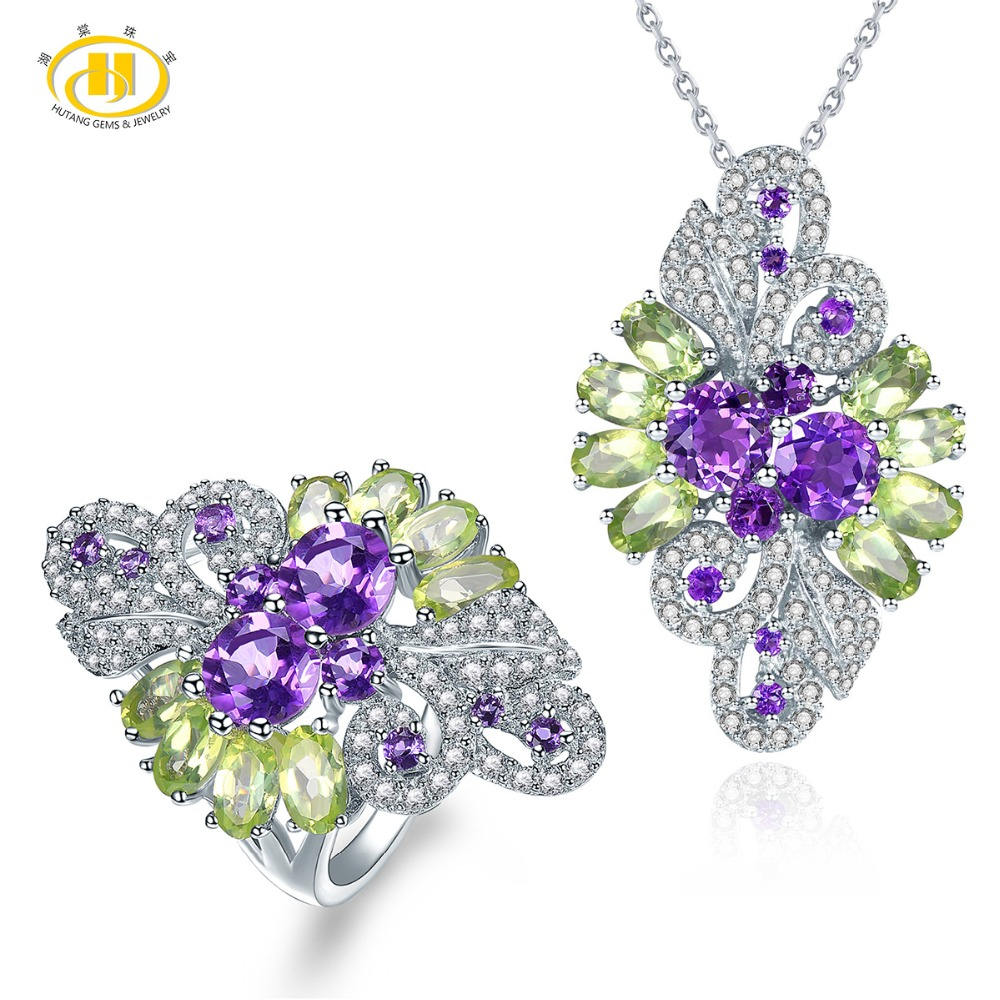 Hutang Natural Gemstone Ring Pendant Jewelry Sets Solid 925 Sterling Silver Amethyst Peridot Fine Fashion Stone Jewelry For GiftHutang Natural Gemstone Ring Pendant Jewelry Sets Solid 925 Sterling Silver Amethyst Peridot Fine Fashion Stone Jewelry For Gift