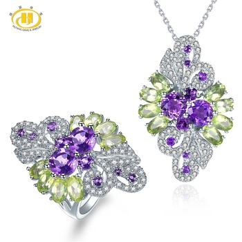 Hutang Natural Gemstone Ring Pendant Jewelry Sets Solid 925 Sterling Silver Amethyst Peridot Fine Fashion Stone Jewelry For Gift