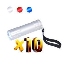 Lot 10pcs LED Torch,Free Laser Engraved Logo&Text Promotion gift,Super Bright 9 Bulb Flashlight Customized Giveaway
