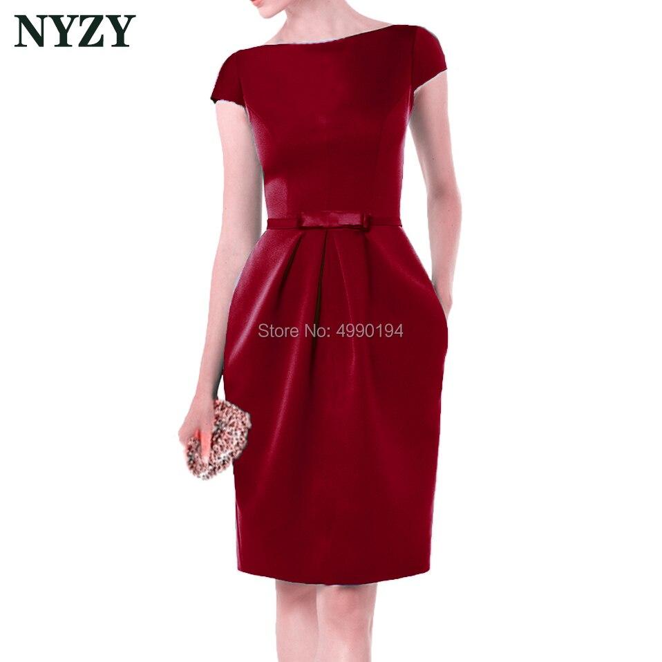 Short Sleeve Burgundy Vestido Robe   Cocktail     Dresses   2019 NYZY C155H Elegant Pocket Satin   Dress   Party Homecoming Graduation