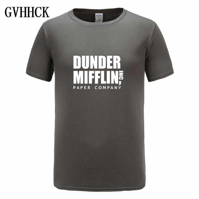Gratis verzending 2019 Mannen Print Het Kantoor TV Show Dunder Mifflin Papier Wit-shirt Korte mouw O-hals Harajuku Streetwear tshirt